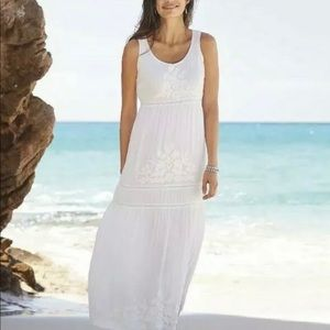J JILL White Floral Embroidered India Gauze Maxi